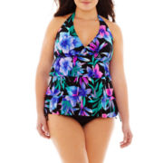 Jamaica Bay® Layered Halterkini Swim Top or Brief Bottoms - Plus