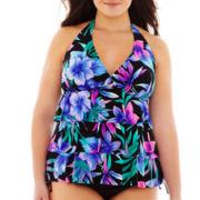 Jamaica Bay® Ruffled Layered Halterkini Swim Top - Plus