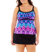 Jamaica Bay® Peasant Tankini Swim Top or Slit Skirted Bottoms - Plus