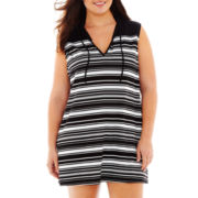 Wearabouts Sleeveless Striped Hoodie Dress Cover-Up - Plus