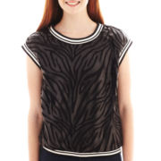 XOXO® Sleeveless Zebra Print Mesh Top