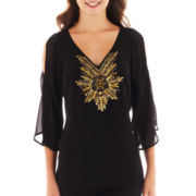 XOXO® 3/4-Sleeve Cold-Shoulder Beaded Top