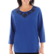 Alfred Dunner® Windy City 3/4-Sleeve Beaded Top