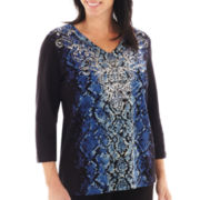 Alfred Dunner® Windy City 3/4-Sleeve Python Print Top