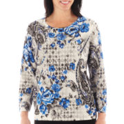 Alfred Dunner® Windy City 3/4-Sleeve Paisley Flower Print Sweater