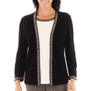 Alfred Dunner® Windy City Herringbone-Trim Layered Sweater