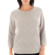 Alfred Dunner® Windy City 3/4-Sleeve Solid Lurex® Sweater