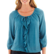 St. John's Bay® 3/4-Sleeve Ruffled Peasant Top