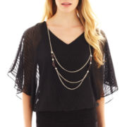Alyx® Short-Sleeve Chevron Banded Blouse with Necklace