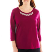 St. John's Bay® 3/4-Sleeve Necklace Tee - Plus