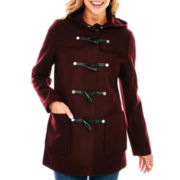 Liz Claiborne® Wool-Blend Hooded Toggle Coat