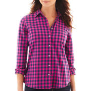 jcp™ Long-Sleeve Brushed Twill Plaid Shirt