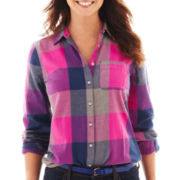 jcp™ Long-Sleeve Brushed Twill Plaid Shirt