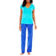 Flirtitude® Short-Sleeve Tee and Flannel Pants Pajama Set