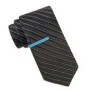 JF J. Ferrar® Galveston Stripe Tie and Tie Bar Set - Slim