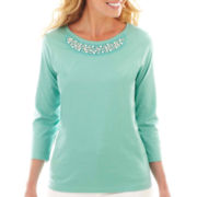 St. John's Bay® 3/4-Sleeve Necklace Tee