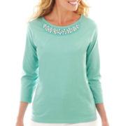 St. John's Bay® 3/4-Sleeve EmbellishedTee