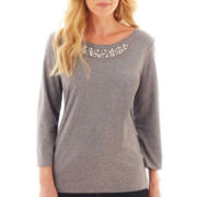 St. John's Bay® 3/4-Sleeve Embellished T-Shirt