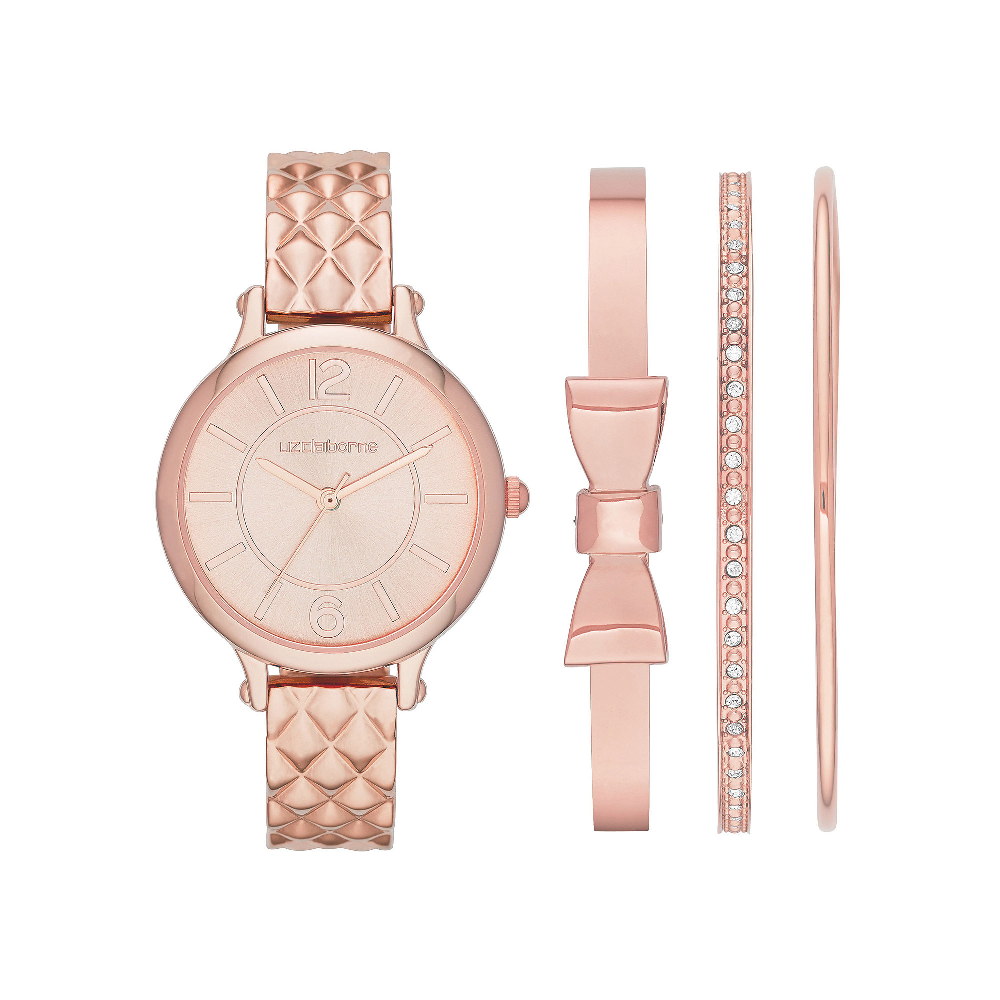 Liz Claiborne Womens Quilt-Look Bangle Watch and Bangle Set