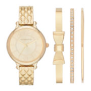 Liz Claiborne® Womens Quilt-Look Bangle Watch and Bangle Set