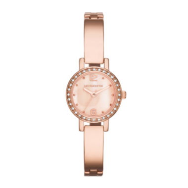 jcpenney.com | Liz Claiborne® Womens Rose-Tone & Crystal-Accent Bangle Watch