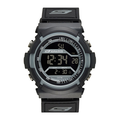 Skechers® Performance Mens Digital Chronograph Red Accent Strap Watch