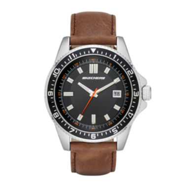 jcpenney.com | Skechers® Mens Brown Leather Strap Analog Watch