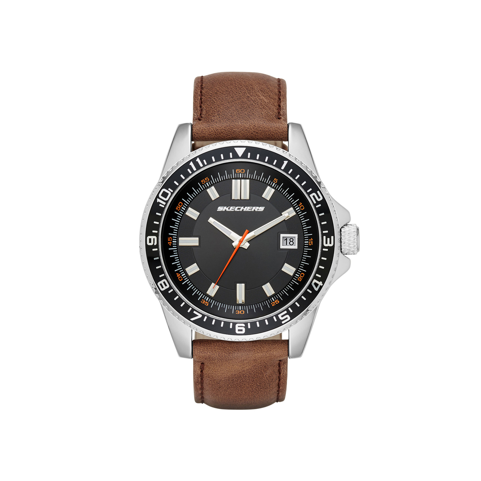 Skechers Mens Brown Leather Strap Analog Watch