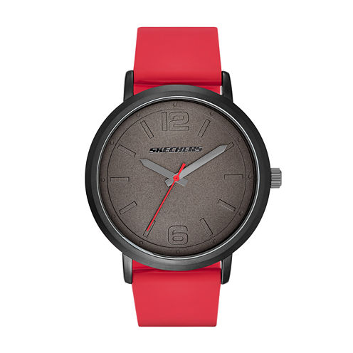 Skechers® Mens Black and Red Silicone Strap Analog Watch