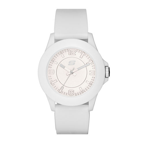 Skechers® Womens White Dial White Silicone Strap Analog Watch