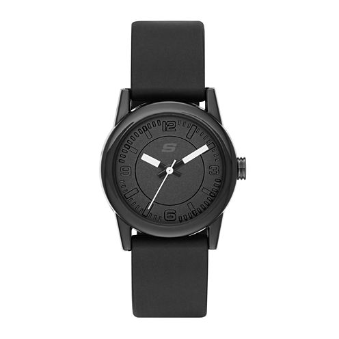 Skechers® Womens Black Dial Black Silicone Strap Analog Watch