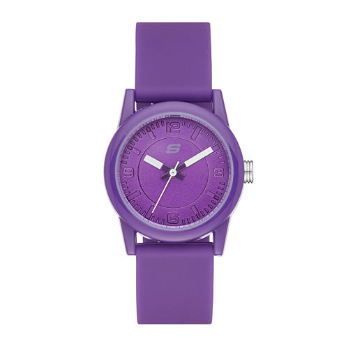 Skechers® Womens Purple Dial Purple Silicone Strap Analog Watch