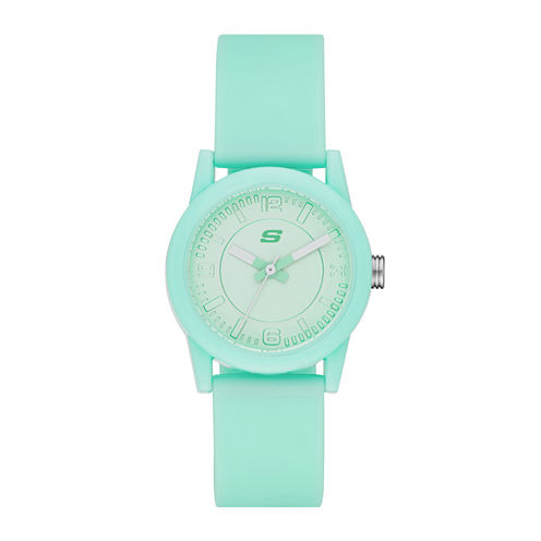 Skechers® Womens Mint Dial Mint Silicone Strap Analog Watch