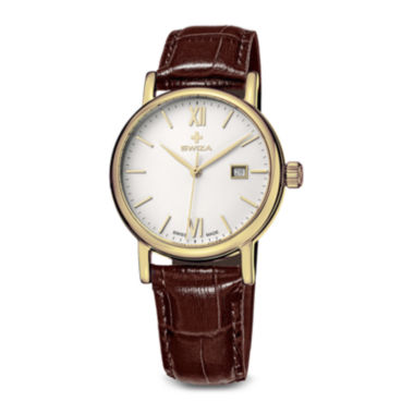 jcpenney.com | Swiza Alza Womens Brown Leather Strap Watch