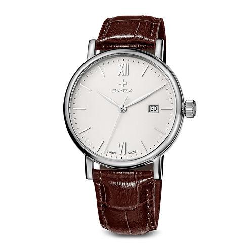 Swiza Alza Mens Brown Leather Strap Watch