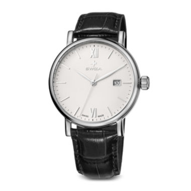 jcpenney.com | Swiza Alza Mens Black Leather Strap Watch