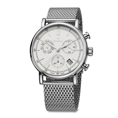 SWIZA ALZA Mens Silver-Tone Stainless Steel Bracelet Watch