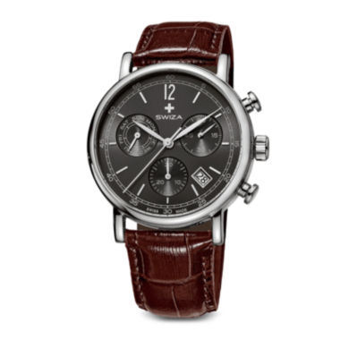 jcpenney.com | SWIZA ALZA Mens Black Dial Brown Leather Strap Watch
