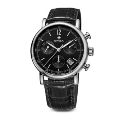 jcpenney.com | SWIZA ALZA Mens Black Dial Black Leather Strap Watch