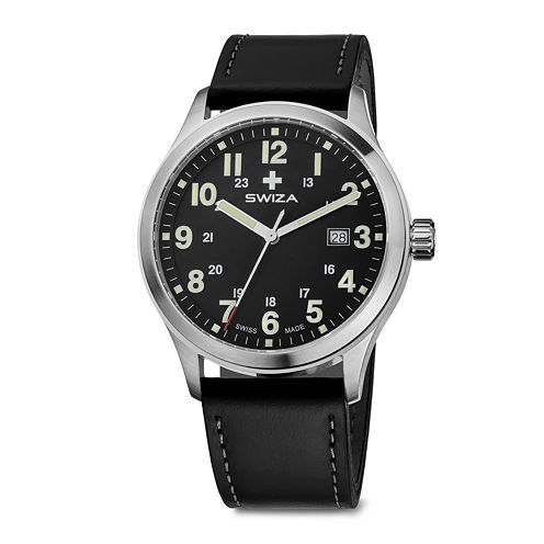 SWIZA Men's Black Leather Strap Watch