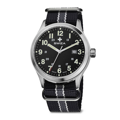 SWIZA Mens Black and Gray Stripe Nylon Strap Watch