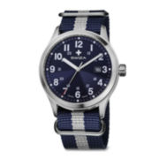 SWIZA Mens Blue and Silver Strap Watch