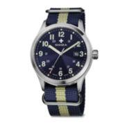 SWIZA Mens Blue and Yellow Strap Watch