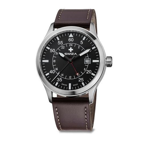 SWIZA Siruz Mens Black Dial Brown Leather Strap Watch