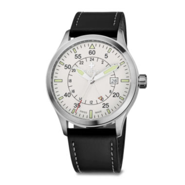 jcpenney.com | SWIZA Siruz Mens White Dial Black Leather Strap Watch