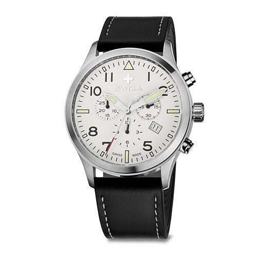 SWIZA Siruz Mens White Dial Brown Strap Watch