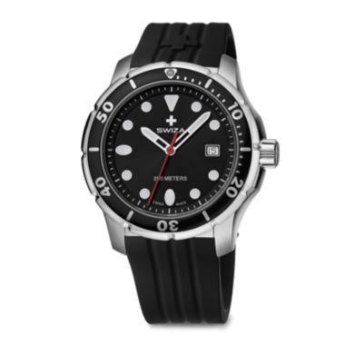 jcpenney.com | SWIZA Tetis Mens Black Silicone Strap Watch