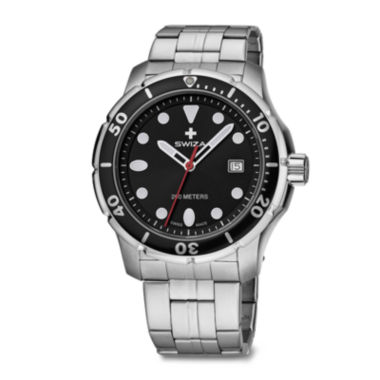 jcpenney.com | SWIZA Tetis Mens Silver and Black Stainless Steel Bracelet Watch