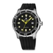 SWIZA Tetis Mens Black and Yellow Silicone Watch