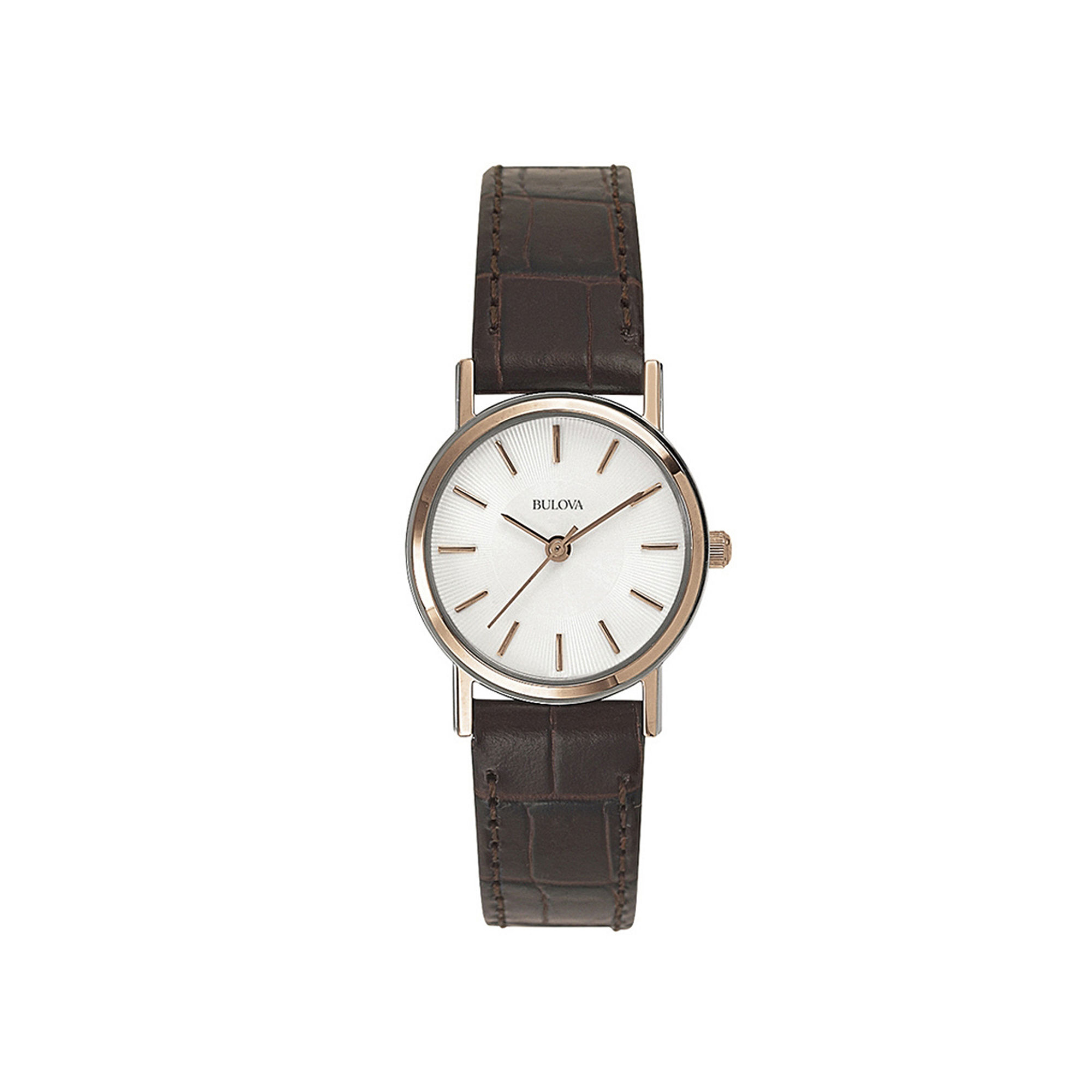 Bulova Womens Classic Brown Leather Strap Watch 98V31